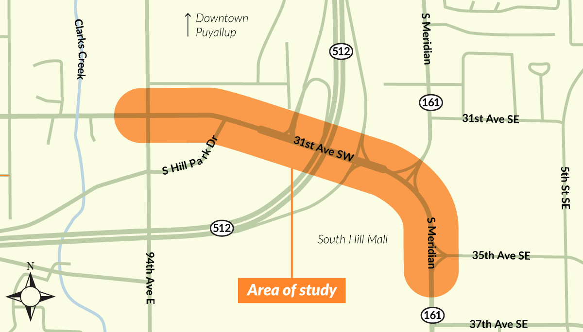 map showing location of overpass widening study