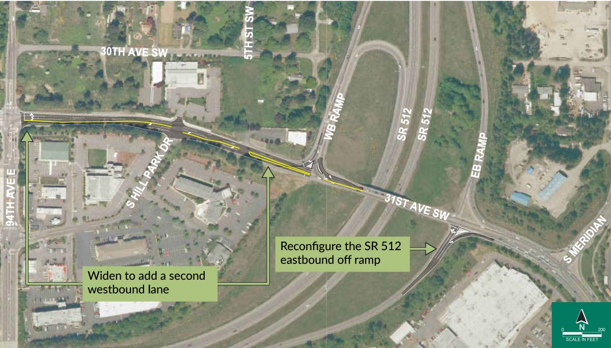 This strategy would add roadway capacity west of the interchange by widening 31st Avenue SW between 94th Avenue E and the SR 512 westbound on-ramp to add a second westbound lane. It would also reconfigure the SR 512 eastbound off-ramp, providing a second option for making the right turn at the signal that would facilitate the merge to turn left onto northbound S Meridian and prevent drivers in the far-right lane from merging to S Meridian. The construction timeline would be relatively short compared to the other strategies.