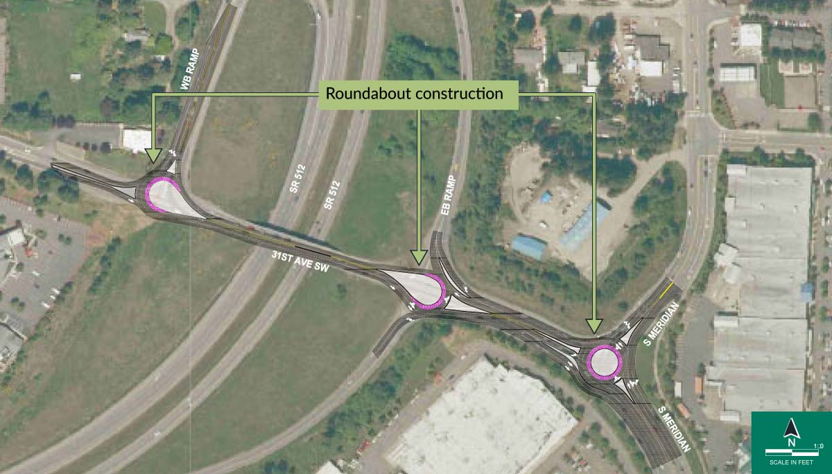This strategy would construct three roundabouts along 31st Avenue SW: one at the SR 512 westbound ramps, one at the SR 512 eastbound ramps and one at S Meridian. Roundabouts would provide additional capacity at the intersections without requiring a wider bridge and would reduce the severity of crashes at the intersections compared to traffic signals. The construction timeline would be longer than strategies 1 and 4, but shorter than strategies 3 and 5.