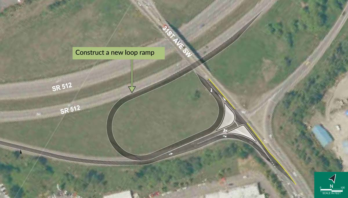 This strategy would eliminate the left turn to the eastbound on-ramp and replace it with a right turn to a new loop on-ramp. Switching the left turn to a right turn allows drivers a free flow movement to the on-ramp, and the removal of the left turn would improve eastbound and westbound traffic flow through the intersection. The right turn to the existing on-ramp would be maintained.